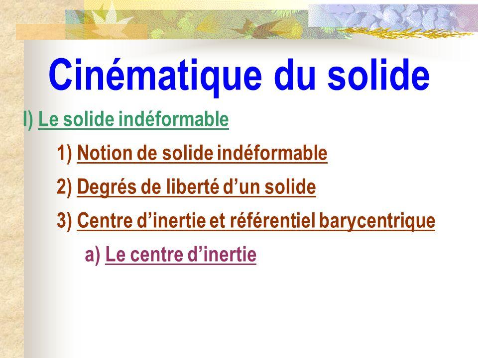 Cinématique du solide I) Le solide indéformable 1) Notion de solide indéformable 2) Degrés de liberté dun solide 3) Centre dinertie et référentiel bar