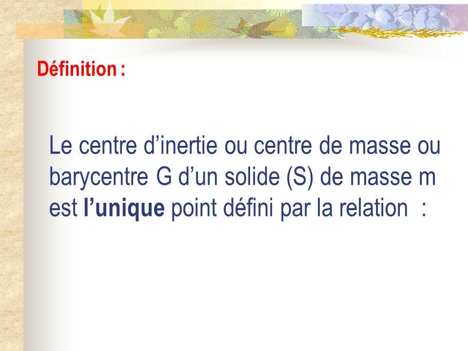 Le centre dinertie ou centre de masse ou barycentre G dun solide (S) de masse m est lunique point défini par la relation : Définition :