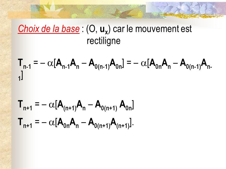 Choix de la base : (O, u x ) car le mouvement est rectiligne T n+1 = – [ A (n+1) A n – A 0(n+1) A 0n ] T n-1 = – [ A n-1 A n – A 0(n-1) A 0n ] = – [ A 0n A n – A 0(n-1) A n- 1 ] T n+1 = – [ A 0n A n – A 0(n+1) A (n+1) ].