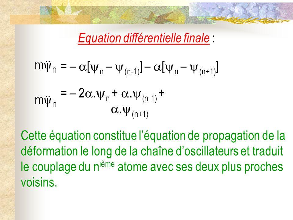 Equation différentielle finale : Cette équation constitue léquation de propagation de la déformation le long de la chaîne doscillateurs et traduit le couplage du n ième atome avec ses deux plus proches voisins.
