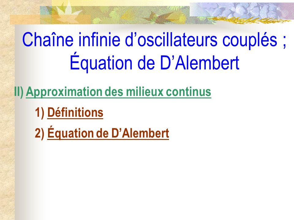 Chaîne infinie doscillateurs couplés ; Équation de DAlembert II) Approximation des milieux continus 1) Définitions 2) Équation de DAlembert