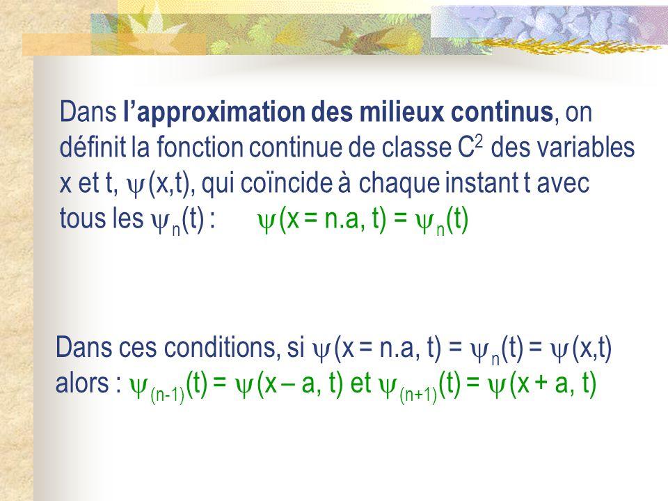 Dans lapproximation des milieux continus, on définit la fonction continue de classe C 2 des variables x et t, (x,t), qui coïncide à chaque instant t a