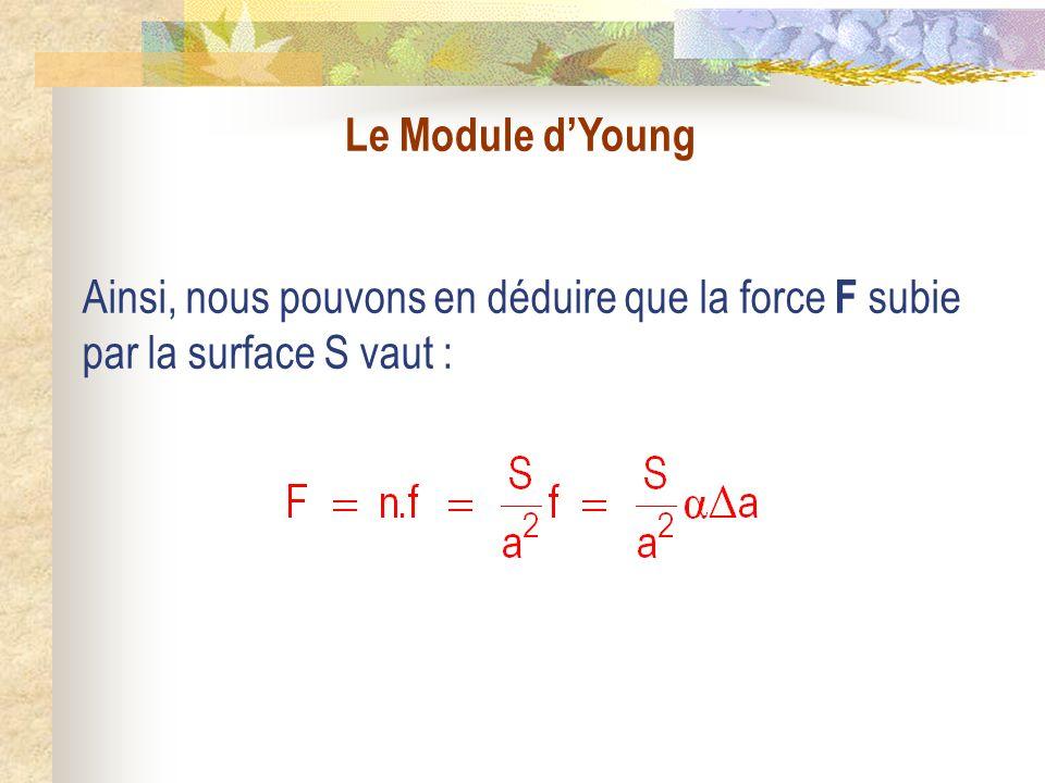 Le Module dYoung Ainsi, nous pouvons en déduire que la force F subie par la surface S vaut :