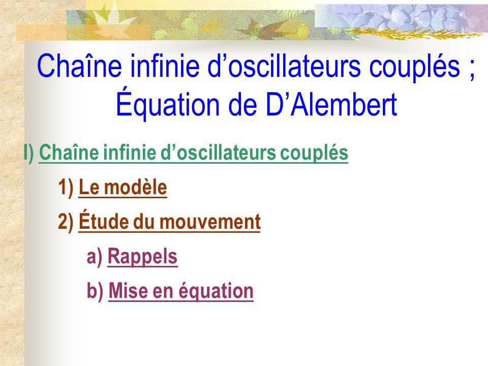 Dans lapproximation des milieux continus, on définit la fonction continue de classe C 2 des variables x et t, (x,t), qui coïncide à chaque instant t avec tous les n (t) : (x = n.a, t) = n (t) Dans ces conditions, si (x = n.a, t) = n (t) = (x,t) alors : (n-1) (t) = (x – a, t) et (n+1) (t) = (x + a, t)