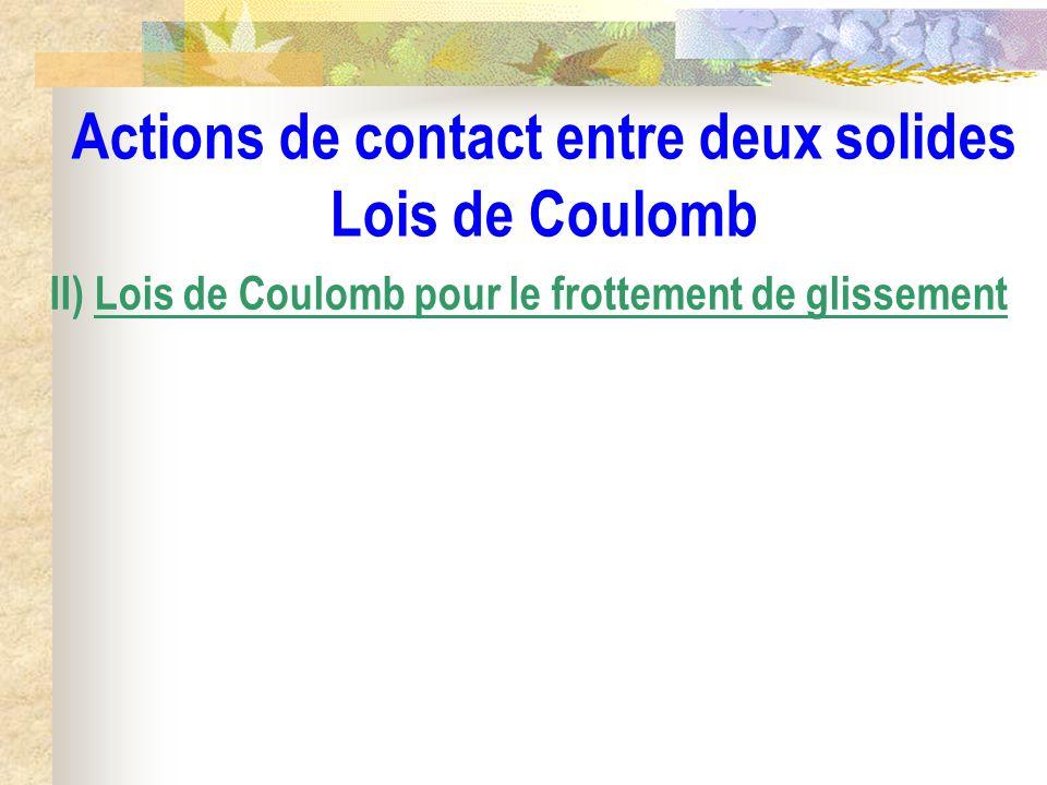 Actions de contact entre deux solides Lois de Coulomb II) Lois de Coulomb pour le frottement de glissement