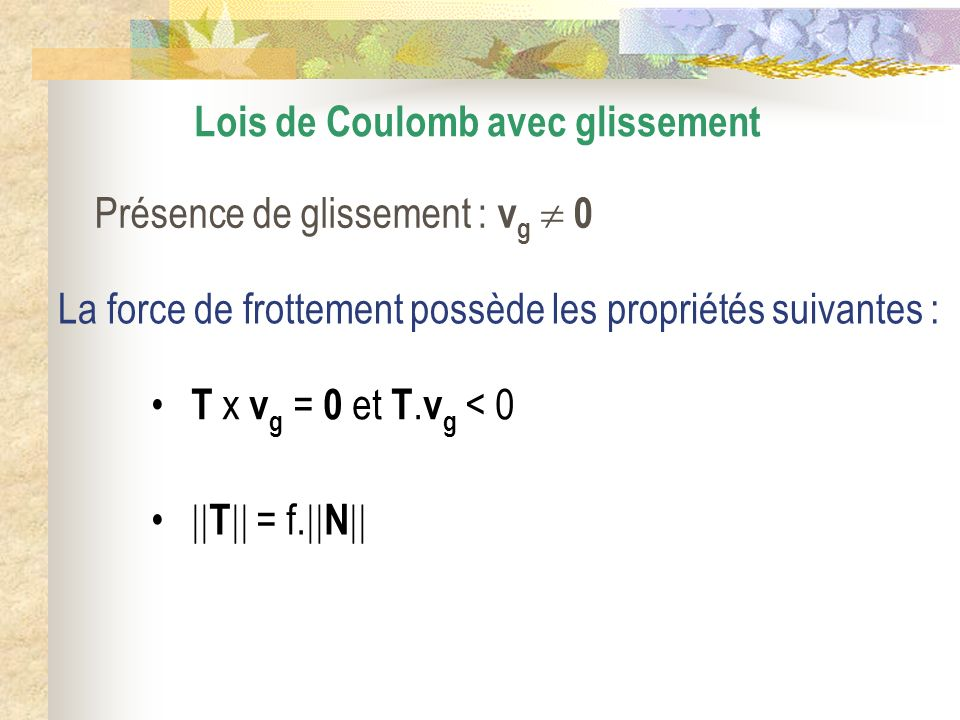 Lois de Coulomb avec glissement Présence de glissement : v g 0 La force de frottement possède les propriétés suivantes : T x v g = 0 et T. v g < 0 T =