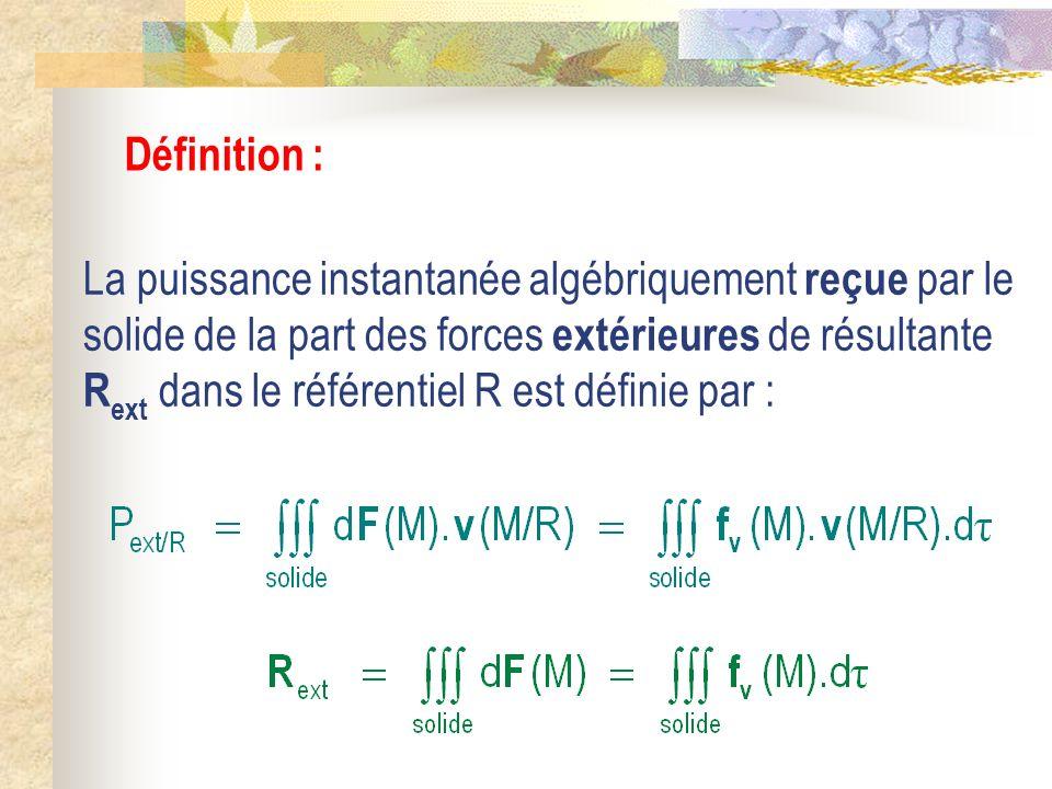 Définition : La puissance instantanée algébriquement reçue par le solide de la part des forces extérieures de résultante R ext dans le référentiel R e