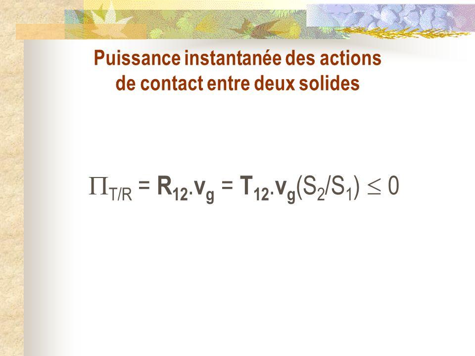 Puissance instantanée des actions de contact entre deux solides T/R = R 12. v g = T 12. v g (S 2 /S 1 ) 0