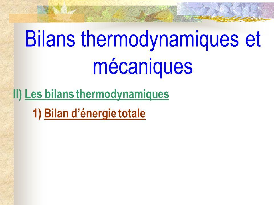 Bilans thermodynamiques et mécaniques II) Les bilans thermodynamiques 1) Bilan dénergie totale