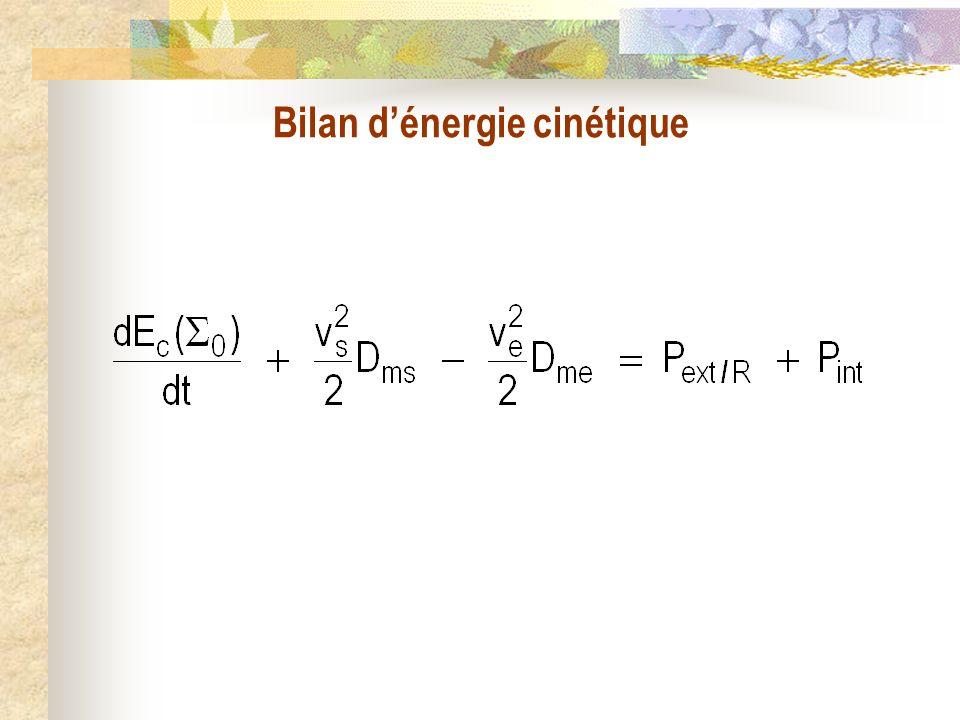 Bilan dénergie cinétique