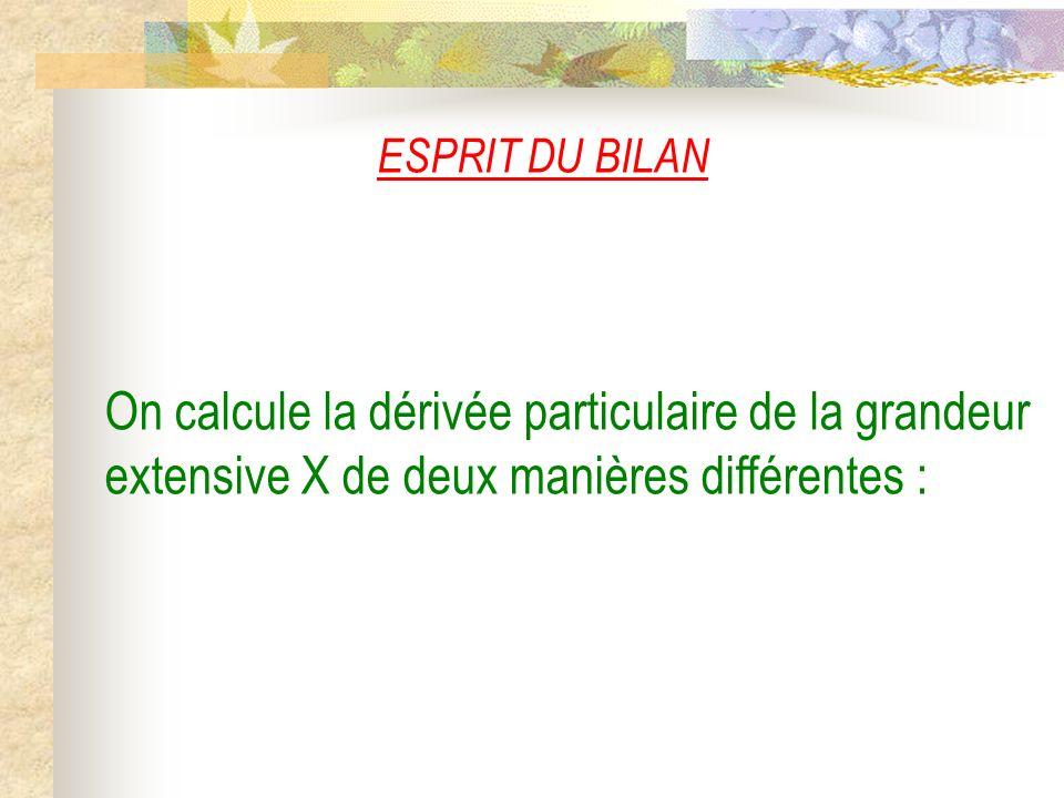 ESPRIT DU BILAN On calcule la dérivée particulaire de la grandeur extensive X de deux manières différentes :