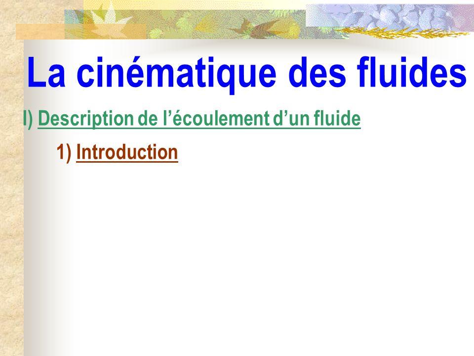 La cinématique des fluides I) Description de lécoulement dun fluide 1) Introduction