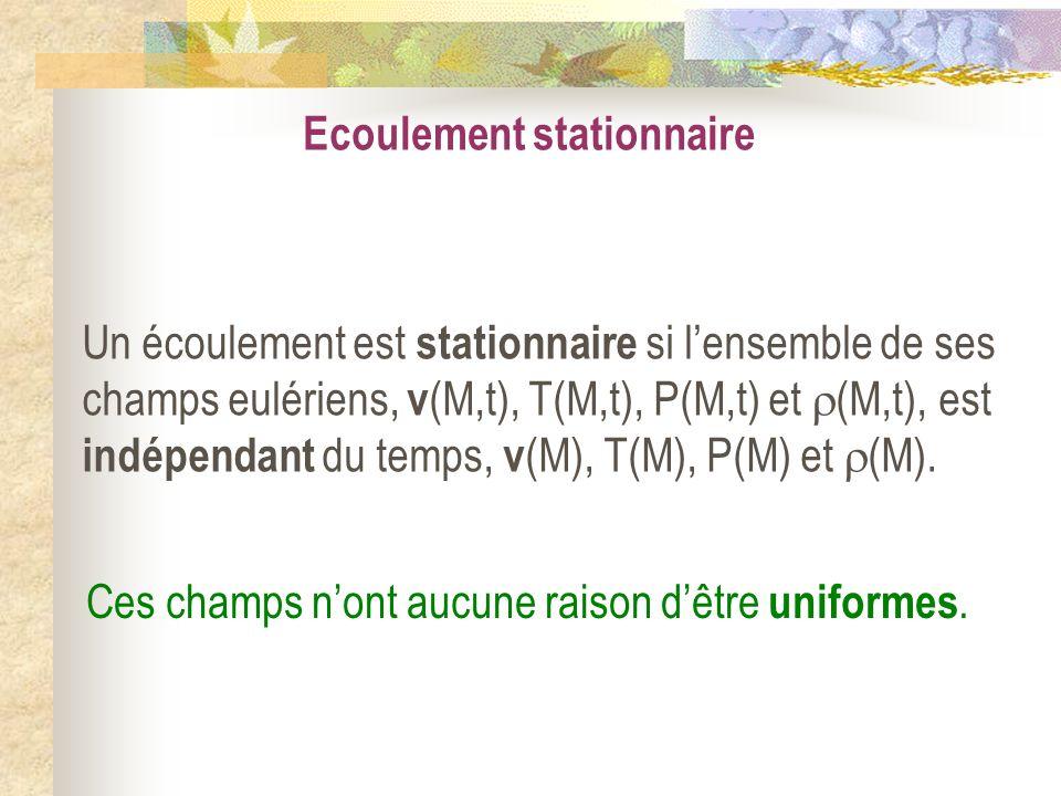 Ecoulement stationnaire Un écoulement est stationnaire si lensemble de ses champs eulériens, v (M,t), T(M,t), P(M,t) et (M,t), est indépendant du temp