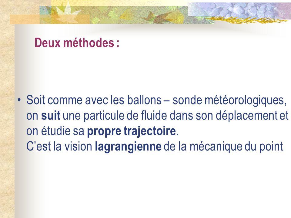 Deux méthodes : Soit comme avec les ballons – sonde météorologiques, on suit une particule de fluide dans son déplacement et on étudie sa propre traje