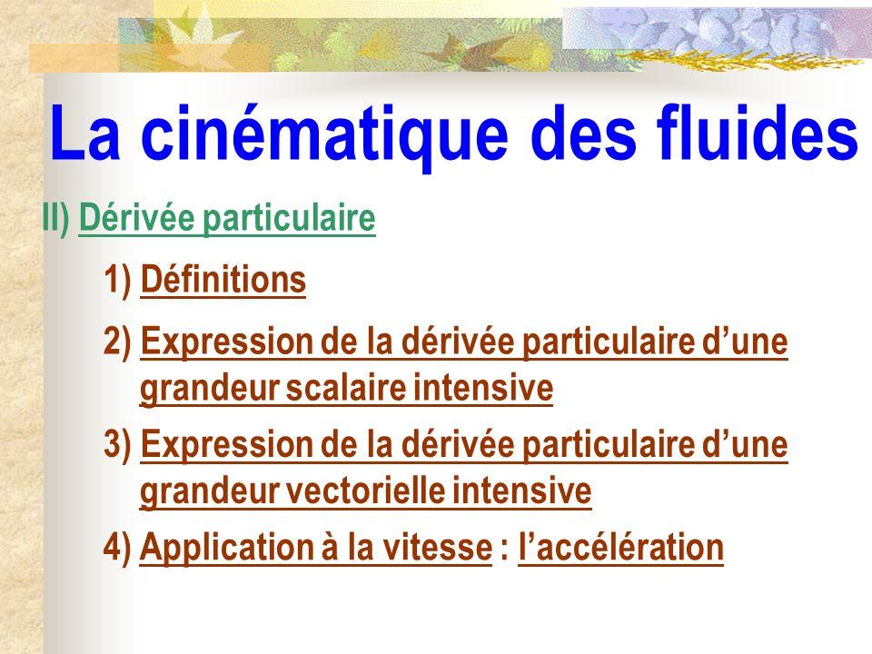 La cinématique des fluides II) Dérivée particulaire 1) Définitions 2) Expression de la dérivée particulaire dune grandeur scalaire intensive 3) Expres