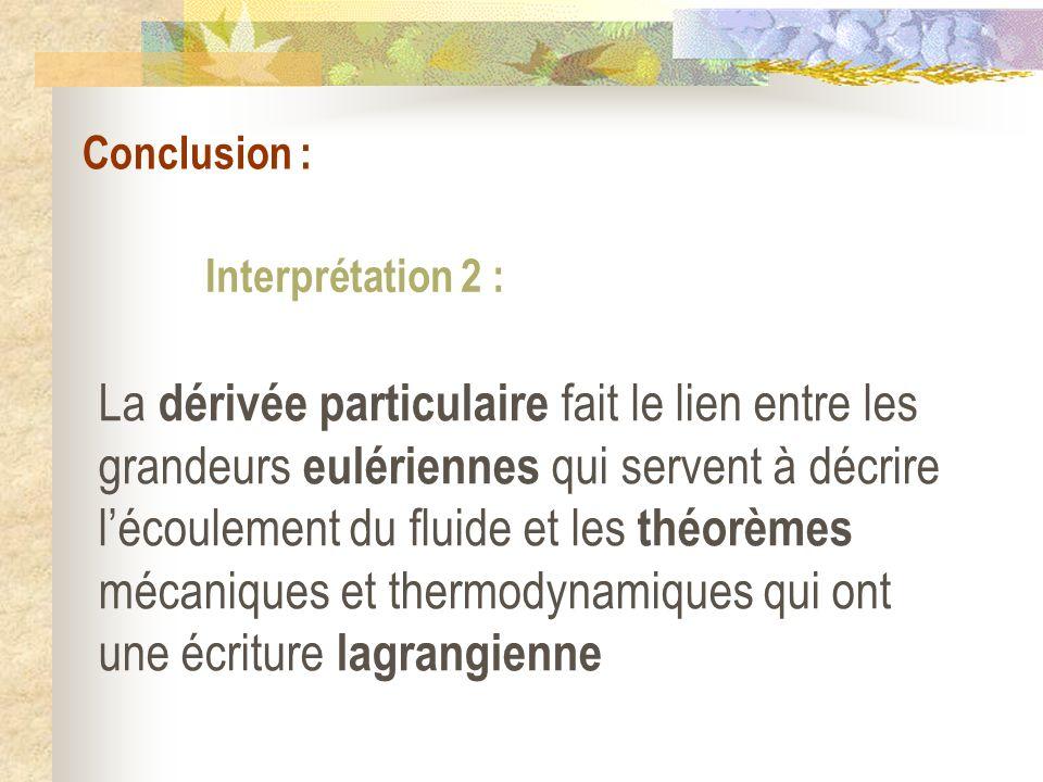 Conclusion : Interprétation 2 : La dérivée particulaire fait le lien entre les grandeurs eulériennes qui servent à décrire lécoulement du fluide et le