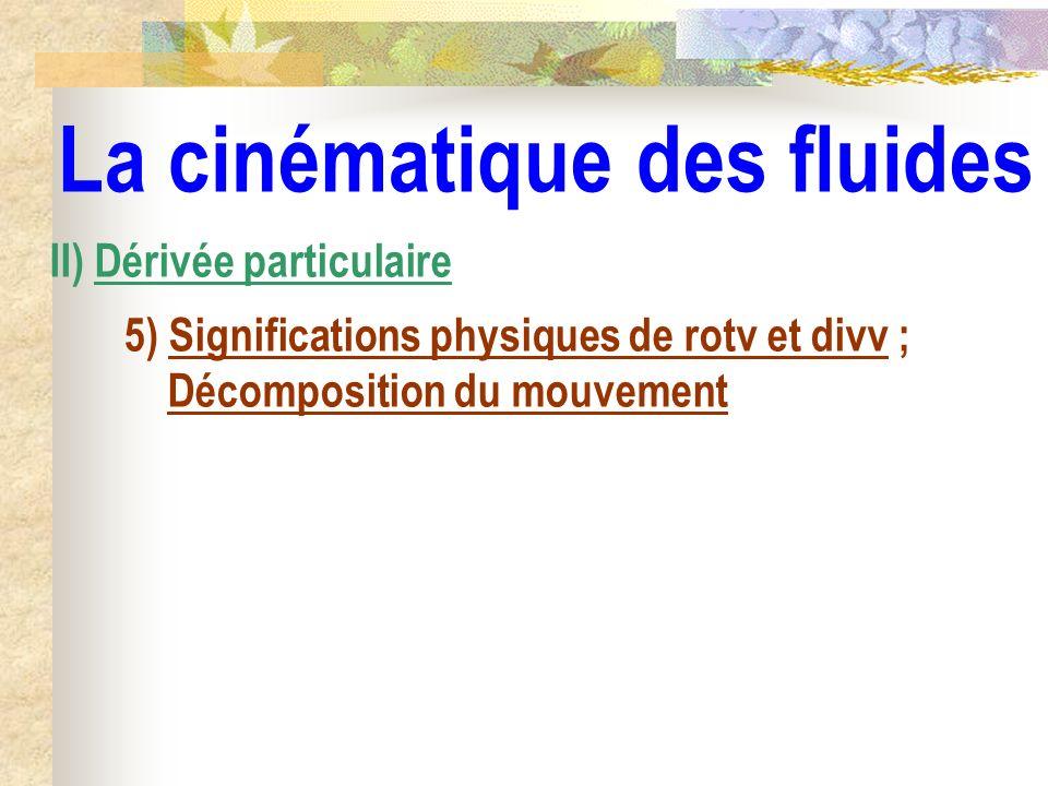 La cinématique des fluides II) Dérivée particulaire 5) Significations physiques de rotv et divv ; Décomposition du mouvement