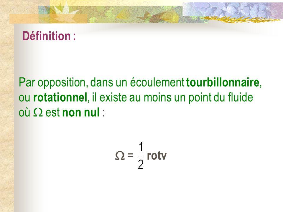 Définition : Par opposition, dans un écoulement tourbillonnaire, ou rotationnel, il existe au moins un point du fluide où est non nul : = rotv