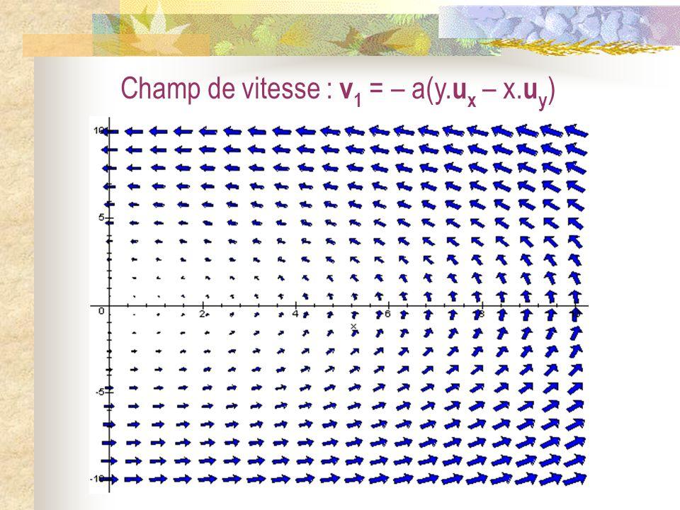 Champ de vitesse : v 1 = – a(y. u x – x. u y )