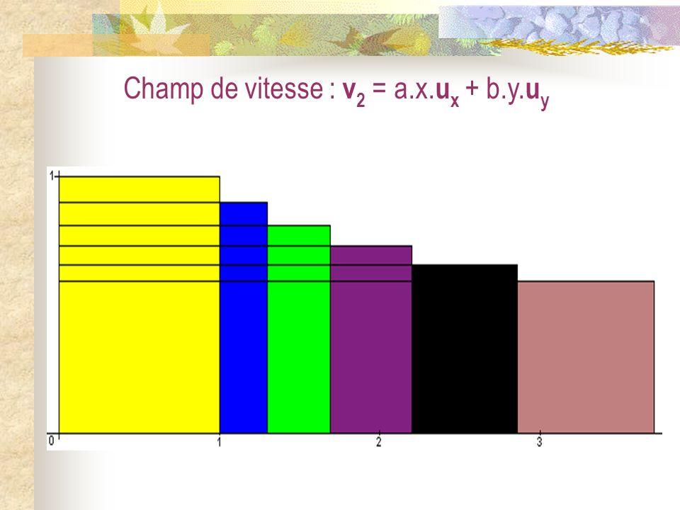 Champ de vitesse : v 2 = a.x. u x + b.y. u y