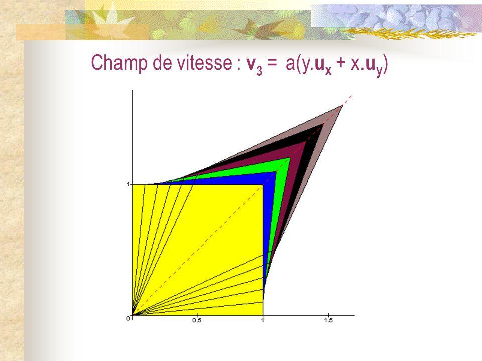 Champ de vitesse : v 3 = a(y. u x + x. u y )