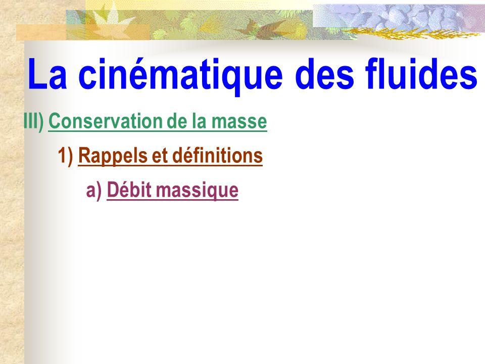 La cinématique des fluides III) Conservation de la masse 1) Rappels et définitions a) Débit massique