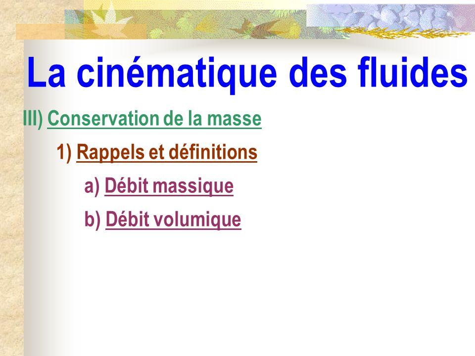 La cinématique des fluides III) Conservation de la masse 1) Rappels et définitions a) Débit massique b) Débit volumique
