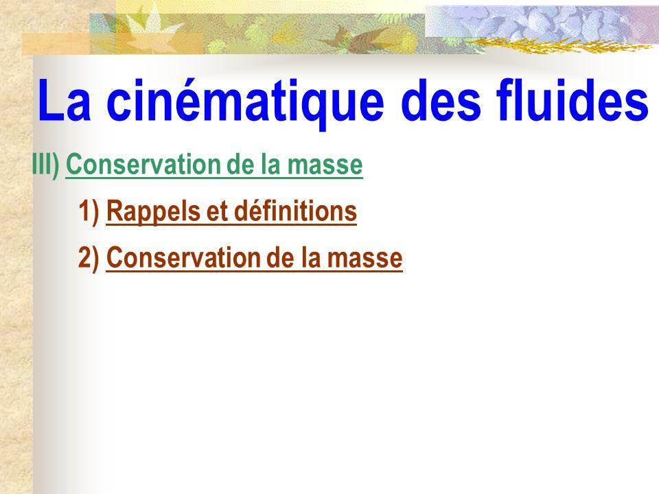 La cinématique des fluides III) Conservation de la masse 1) Rappels et définitions 2) Conservation de la masse