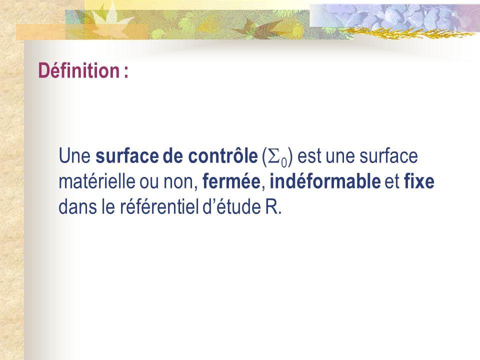 Définition : Une surface de contrôle ( 0 ) est une surface matérielle ou non, fermée, indéformable et fixe dans le référentiel détude R.