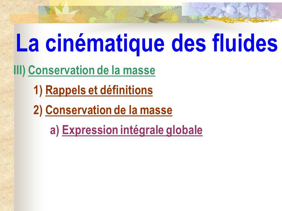 La cinématique des fluides a) Expression intégrale globale III) Conservation de la masse 1) Rappels et définitions 2) Conservation de la masse