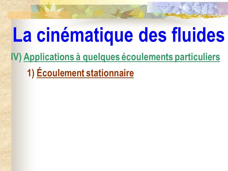 La cinématique des fluides IV) Applications à quelques écoulements particuliers 1) Écoulement stationnaire