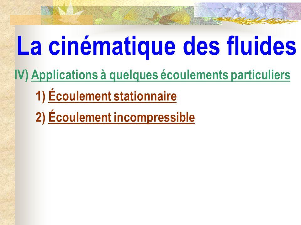 La cinématique des fluides IV) Applications à quelques écoulements particuliers 1) Écoulement stationnaire 2) Écoulement incompressible