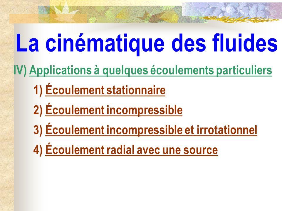 La cinématique des fluides IV) Applications à quelques écoulements particuliers 1) Écoulement stationnaire 2) Écoulement incompressible 3) Écoulement