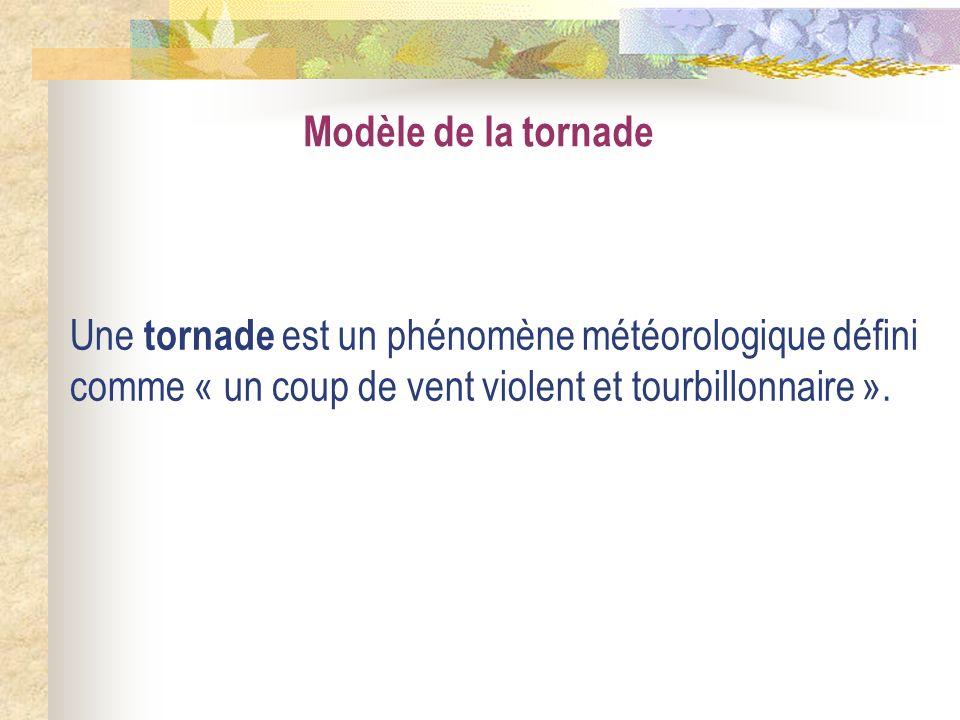 Modèle de la tornade Une tornade est un phénomène météorologique défini comme « un coup de vent violent et tourbillonnaire ».