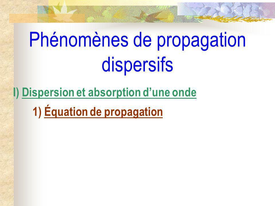 Phénomènes de propagation dispersifs I) Dispersion et absorption dune onde 1) Équation de propagation