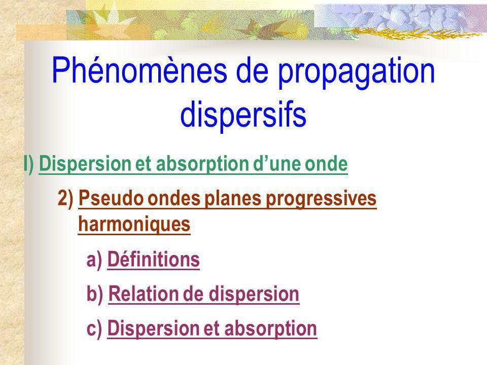 Phénomènes de propagation dispersifs I) Dispersion et absorption dune onde 2) Pseudo ondes planes progressives harmoniques a) Définitions b) Relation