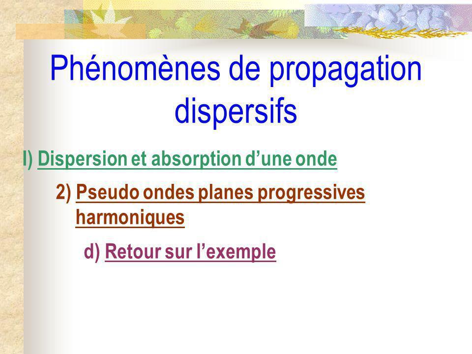 Phénomènes de propagation dispersifs I) Dispersion et absorption dune onde 2) Pseudo ondes planes progressives harmoniques d) Retour sur lexemple