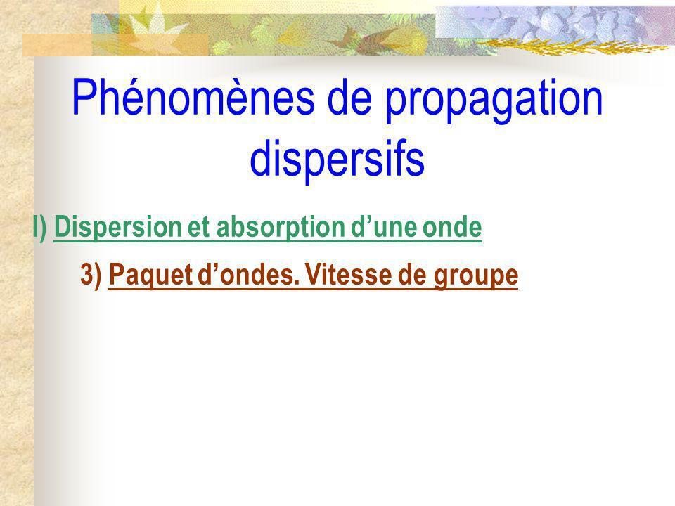 Phénomènes de propagation dispersifs I) Dispersion et absorption dune onde 3) Paquet dondes. Vitesse de groupe