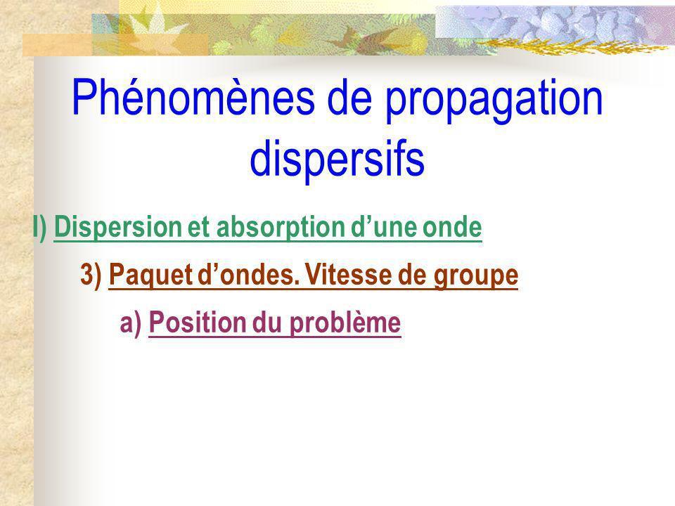 Phénomènes de propagation dispersifs I) Dispersion et absorption dune onde 3) Paquet dondes. Vitesse de groupe a) Position du problème