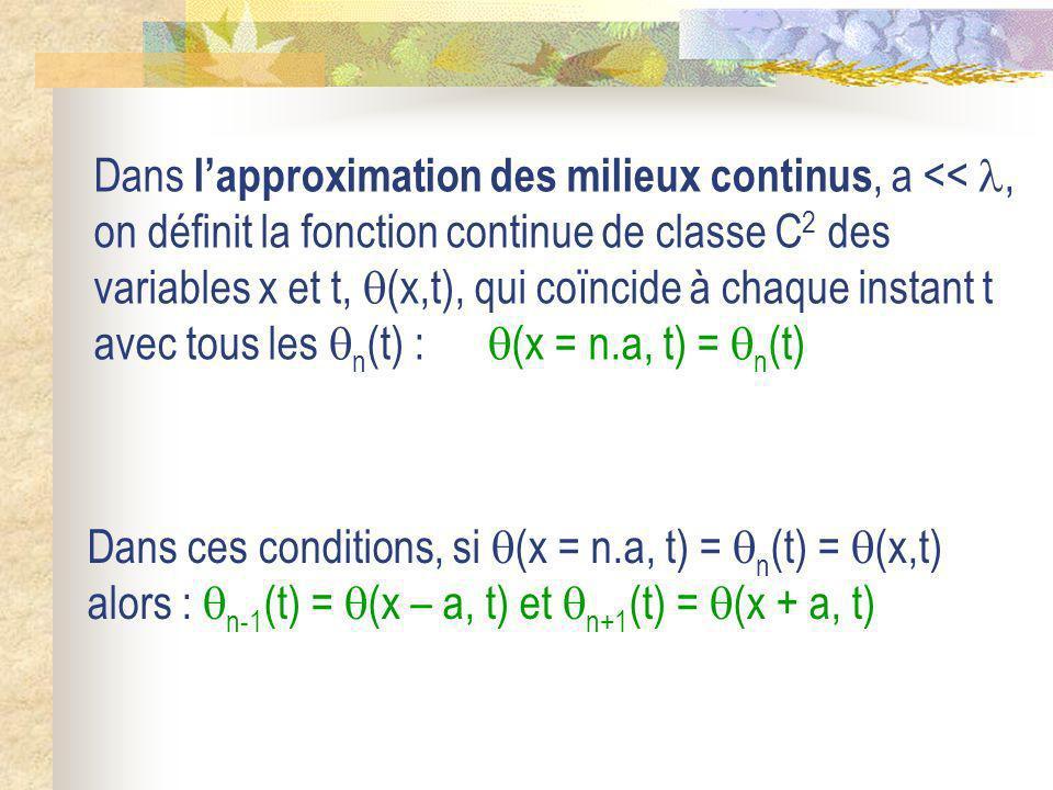 Dans lapproximation des milieux continus, a <<, on définit la fonction continue de classe C 2 des variables x et t, (x,t), qui coïncide à chaque insta