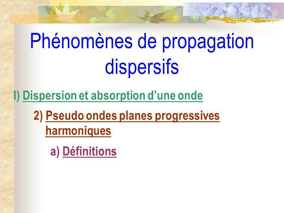 Phénomènes de propagation dispersifs I) Dispersion et absorption dune onde 2) Pseudo ondes planes progressives harmoniques a) Définitions
