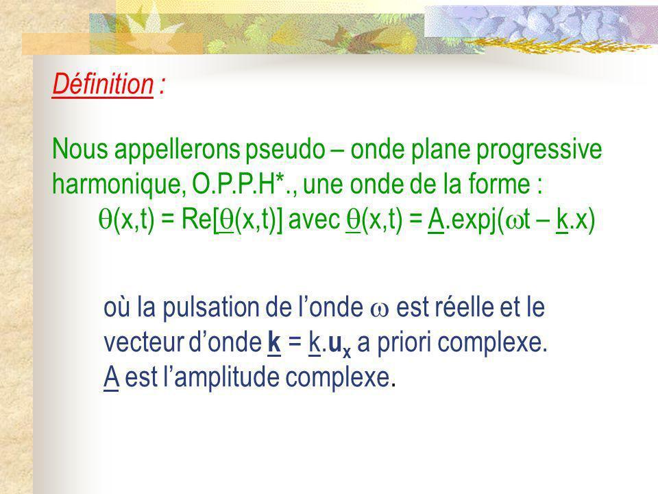 Définition : Nous appellerons pseudo – onde plane progressive harmonique, O.P.P.H*., une onde de la forme : (x,t) = Re[ (x,t)] avec (x,t) = A.expj( t
