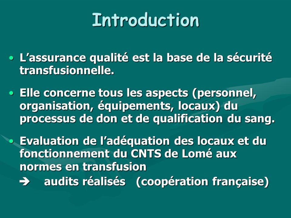 Introduction Lassurance qualité est la base de la sécurité transfusionnelle.Lassurance qualité est la base de la sécurité transfusionnelle. Elle conce