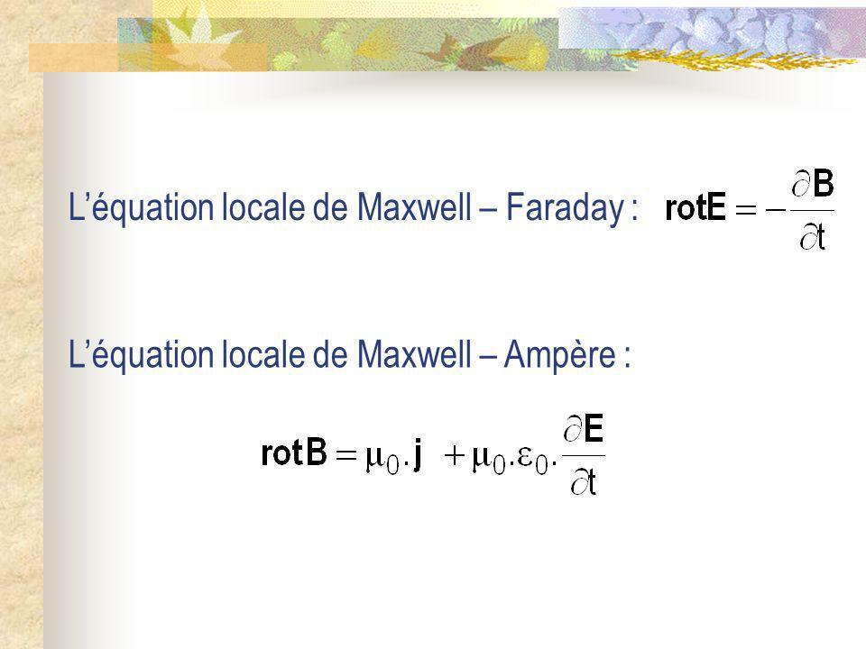 Léquation locale de Maxwell – Faraday : Léquation locale de Maxwell – Ampère :