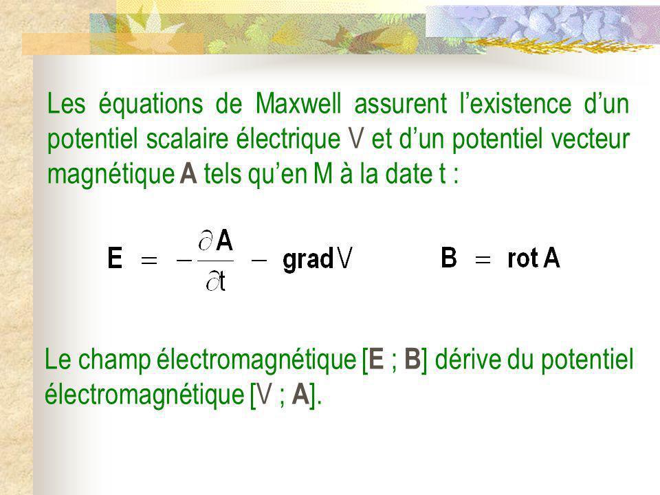Les équations de Maxwell assurent lexistence dun potentiel scalaire électrique V et dun potentiel vecteur magnétique A tels quen M à la date t : Le ch