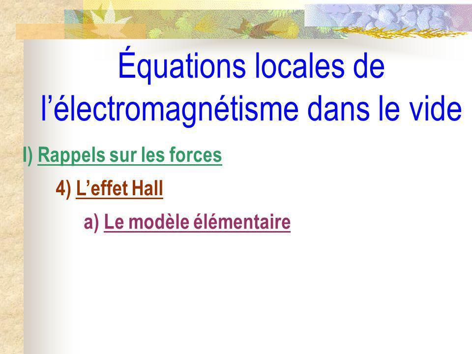 Équations locales de lélectromagnétisme dans le vide I) Rappels sur les forces 4) Leffet Hall a) Le modèle élémentaire