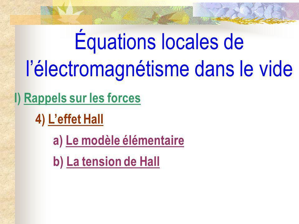 Équations locales de lélectromagnétisme dans le vide I) Rappels sur les forces 4) Leffet Hall a) Le modèle élémentaire b) La tension de Hall