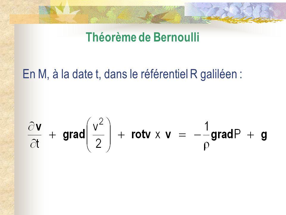 Théorème de Bernoulli En M, à la date t, dans le référentiel R galiléen :