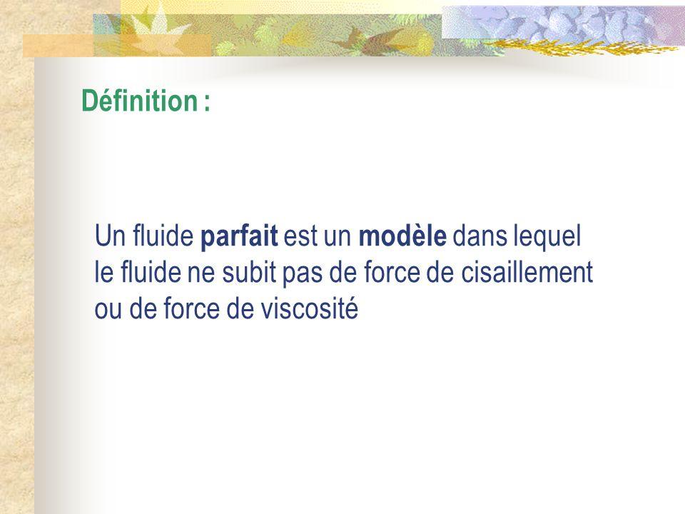 Définition : Un fluide parfait est un modèle dans lequel le fluide ne subit pas de force de cisaillement ou de force de viscosité