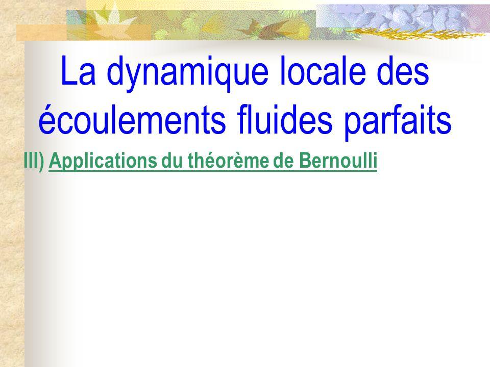 La dynamique locale des écoulements fluides parfaits III) Applications du théorème de Bernoulli